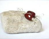 Oxblood Red Dangle Earrings Sterling Silver Earrings Wire Jewelry
