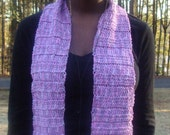 Pink and lavender hand-crocheted scarf