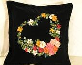 Pillow Case with silky ribbon embroidered heart wreath of flowers handmade by my mother