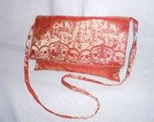 Embroidered Orange Satin Shoulder Bag or Clutch OOAK Original Design Purse or Evening Bag Pocketbook