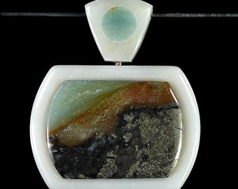 SALE Peruvian Amazonite w/Pyrite Intarsia Inlay Inlaid Focal Bead Pendant -- destash