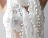 Mothers Day gift  Tulle scarf / shawl white