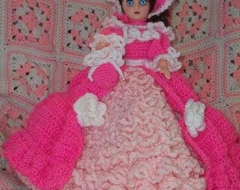 Crochet Victorian Doll Dress Lady In Pink