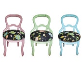 Vintage Boudoir Upholstered Wooden Chairs