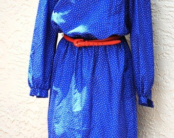 Red White and Blue Liz Roberts, Inc. Vintage Dress 1970s Buttons