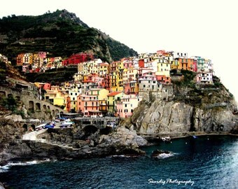 Romantic Cinque Terre, Italy. Photograph. Rainbow. Nursery. Pastels. Wall Art. Home Decor. Travel Photography. Colorful. Manarola. Italia.