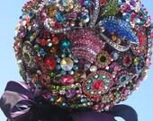 Bridal Brooch Bouquet Rich Jewel Tones with Aubergine ribbon collar Big WOW factor