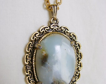 Vintage Moss Agate Necklace - 1980s Gold Tone Chain