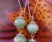 1920s Parisian Boheme Sea foam green tourmaline beads, double drop dangling earrings