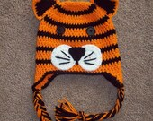 Crochet Tiger Animal Hat or Beanie - Great for Photo Prop - Newborn to Adult sizes available