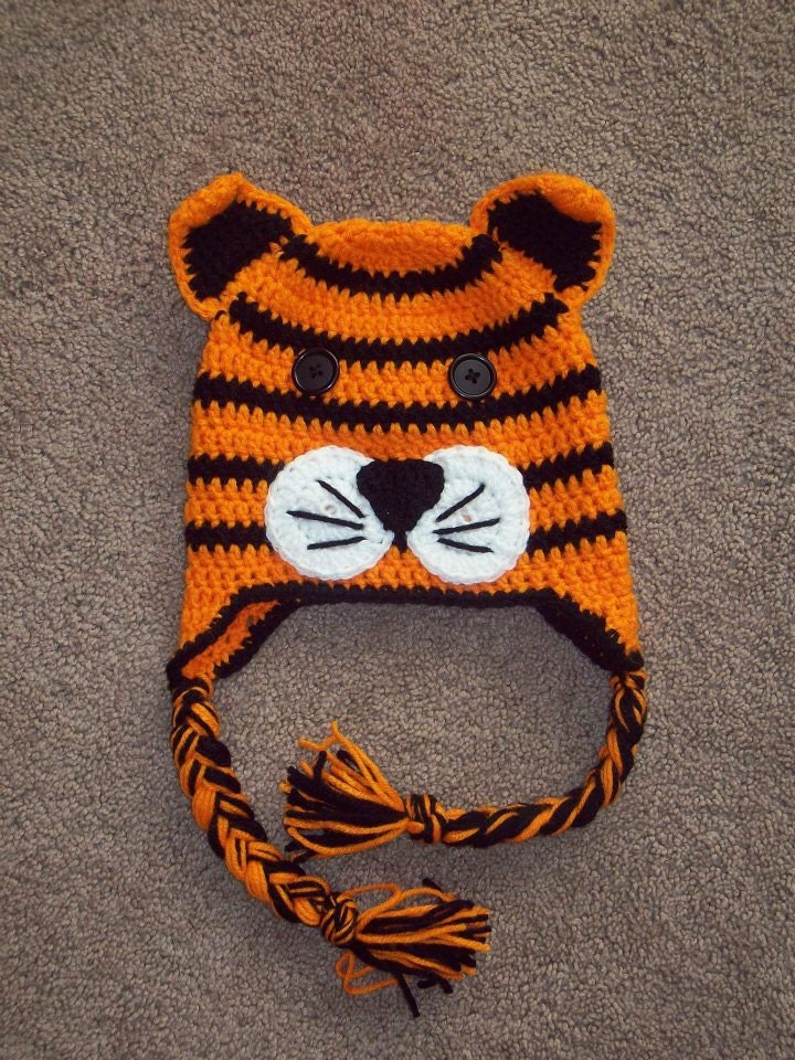 Crochet Tiger Animal Hat or Beanie Great for Photo Prop