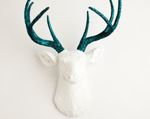 Faux Taxidermied Deer - The Jackson - White W/ Turquoise Glitter Antlers Resin Deer Head - Stag Resin by White Faux Taxidermy Wall Decor