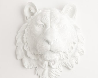 White Faux Taxidermy - The Theodore - White Resin Tiger Head- Resin White Faux Taxidermy- Chic Tiger Wall Decor / Faux Animal Head