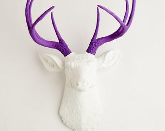 Fake Deer Head - The Wyatt - White W/ Lavender Antlers Resin Deer Head- Stag Resin by White Faux Taxidermy Animal Head Wall Mounts