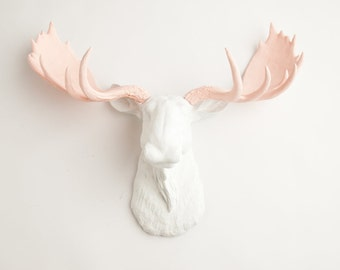 Faux Moose Head - The Anita - White w/ Cameo Pink Antlers Resin Moose Head- Moose Resin White Faux Taxidermy