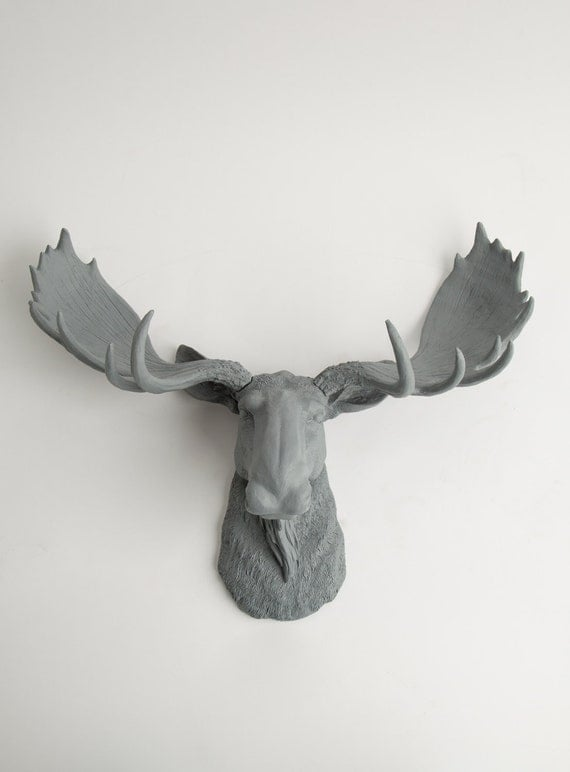 Moose Head - The Wellington - Gray Resin Moose Head- Moose Resin Grey Faux Taxidermy- Chic Animal Head Wall Ornament by White Faux Taxidermy
