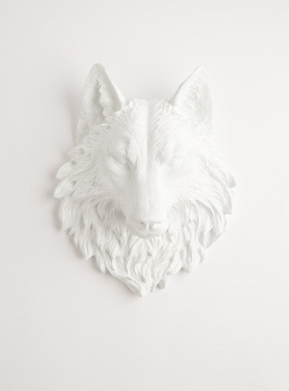 RESERVED for Corrie - The Lincoln - Antique White Resin Wolf Head- Resin White Faux Taxidermy- Chic & Trendy