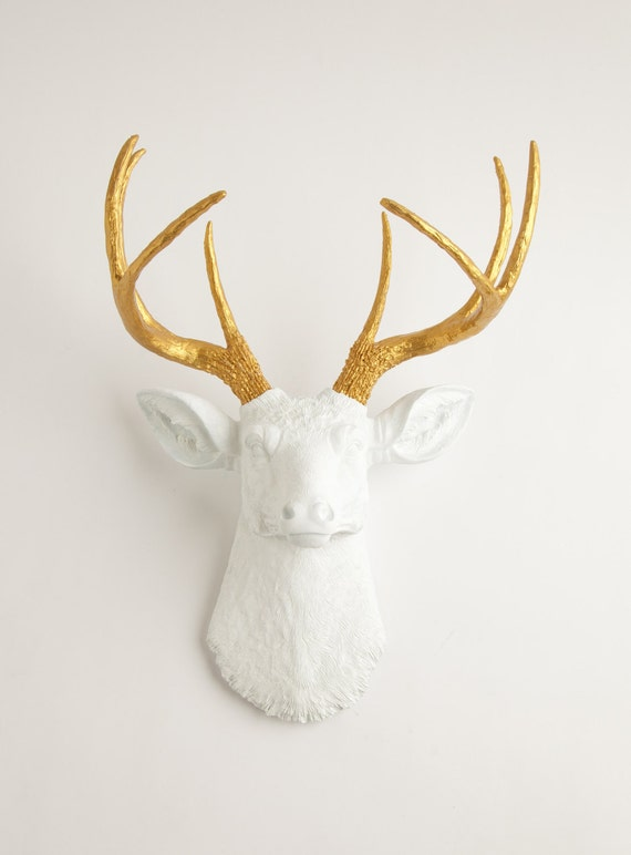 Faux Deer Head - The Alfred - White and Gold Decor Antlers Resin Fake Deer Head- Resin Stag Head Wall Mount by White Faux Taxidermy Animals