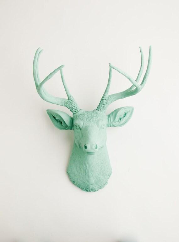 Faux Deer Head - The Eleanor - Seafoam Green Resin Deer Head- Deer Antlers Decor - Faux Head Wall Mount by White Faux Taxidermy