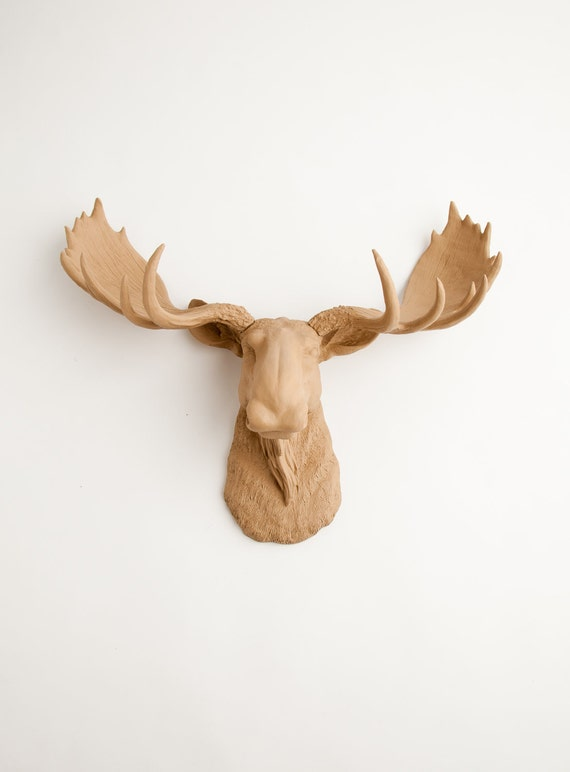Moose head faux taxidermy the agatha tan resin faux moose - Fake moose head mount ...