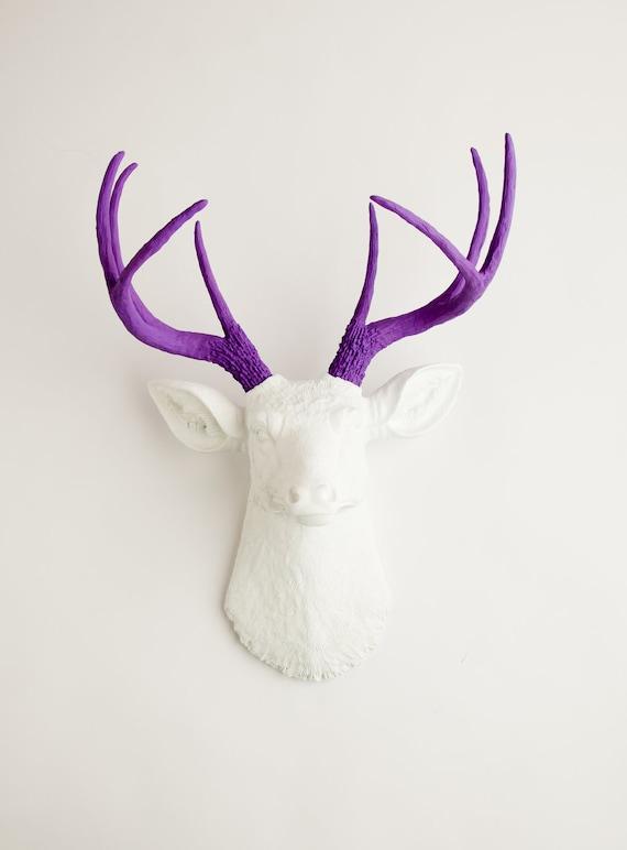 Fake Deer Head - The Wyatt - White W/ Lavender Antlers Resin Deer Head- Stag Resin by White Faux Taxidermy Animal Head Wall Mounts