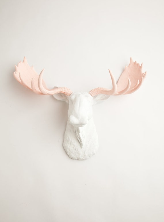 Faux Moose Head - The Anita - White w/ Cameo Pink Antlers Resin Moose Head- Moose Resin White Faux Taxidermy