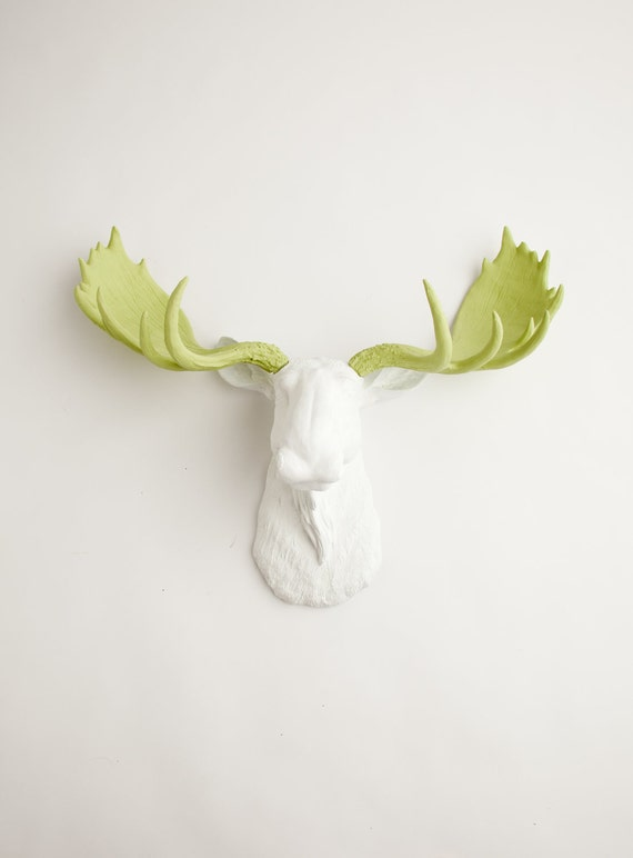 Moose Head - The Cesar - White w/ Mint Green Antlers Resin Moose Head- Moose Resin White Faux Taxidermy- Chic Holiday Decor
