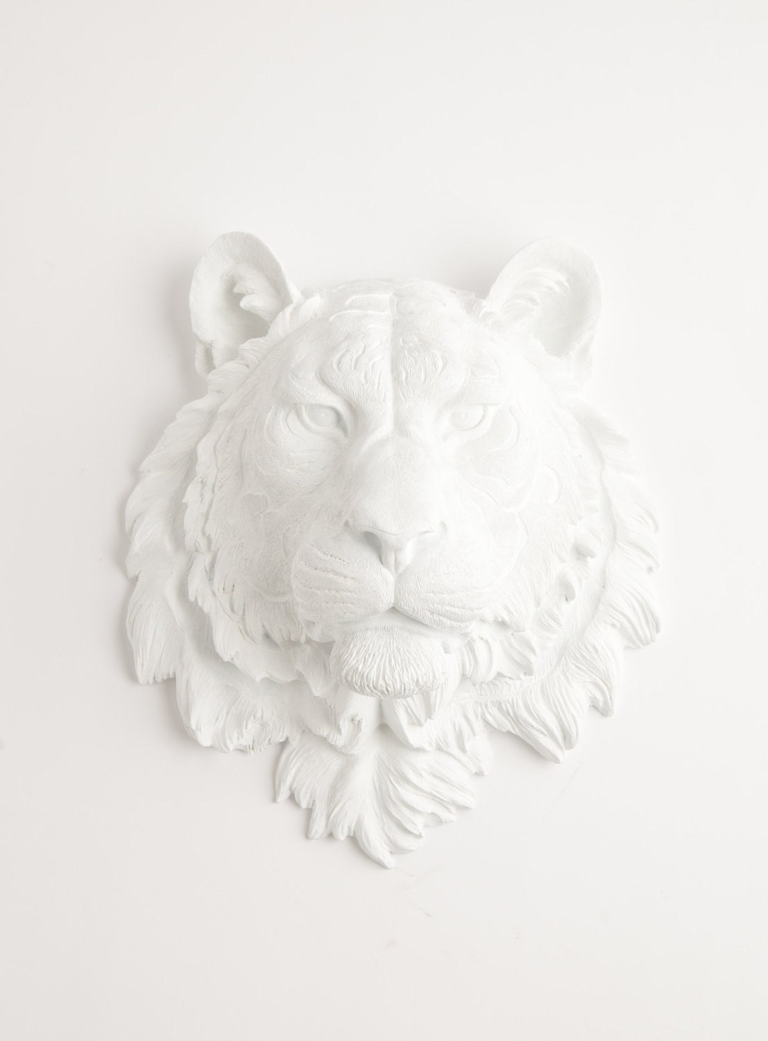 white faux taxidermy the theodore white resin tiger head. Black Bedroom Furniture Sets. Home Design Ideas