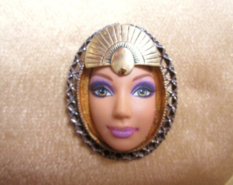 Cleopatra Barbie Brooch Pin Made from a Real Barbie