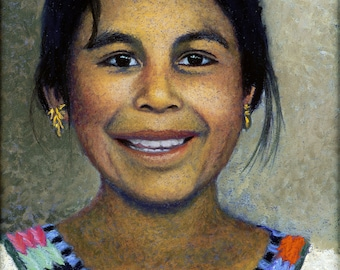Young Girl Portrait Fine Art Giclee Print, Angelica, Girl, Mexicana, Mexico, Portrait, 8X10 Archival Print, Pastel Painting By Jan Maitland,