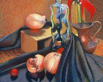 Still Life With Onion Fine Art Print, Giclee Print, Pastel Painting By Jan Maitland, Copper, Bottles