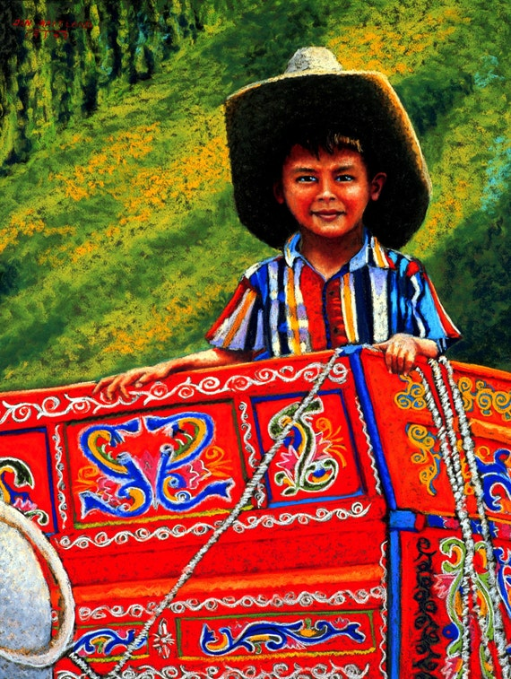 """8"""" X 10"""" Fine Art Giclee Print, Tico, Boy From Costa Rica, Archival Print, Pastel Painting By Jan Maitland, Figure, Red, Painted Wagon"""