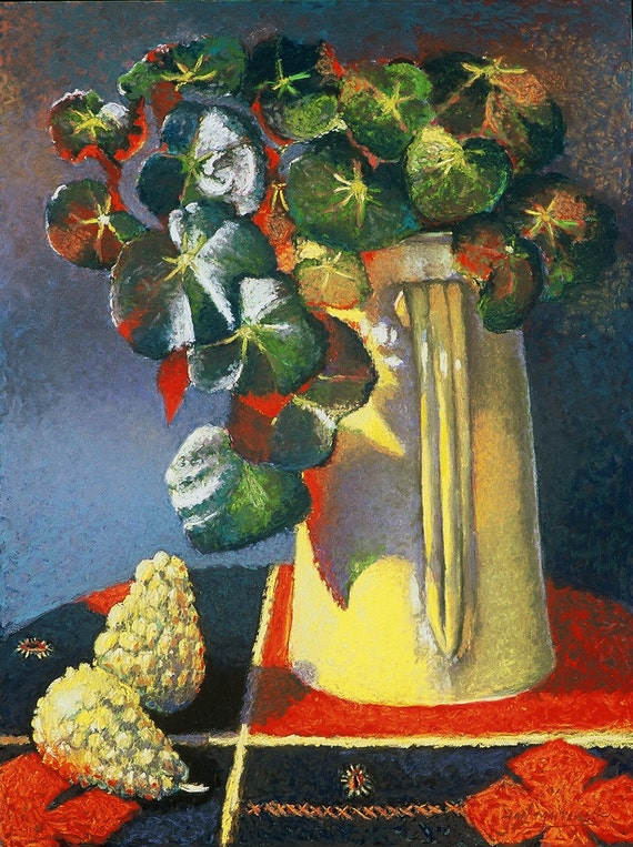 Begonia Still Life Fine Art Giclee Print, Pastel Painting By Jan Maitland, Gold Pitcher, Red Tablecloth, Green Leaves, Yellow Gourds