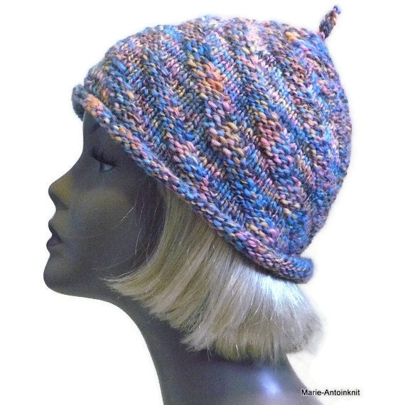 Colorful Knit Beanie, Knit Cloche in Blue & Coral, Hand Knit Hat