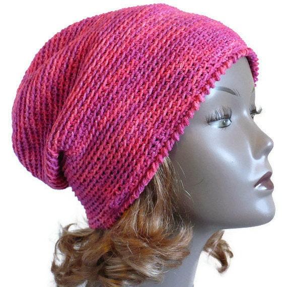 Secret SALE - Pink Slouchy Hat, Crocheted Rasta Hat, pink cotton slouchy beanie, spring hat