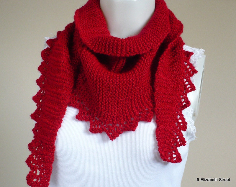 Triangle Knit Scarf Pattern : Hand Knit Scarf triangle scarf deep red scarf knit baktus
