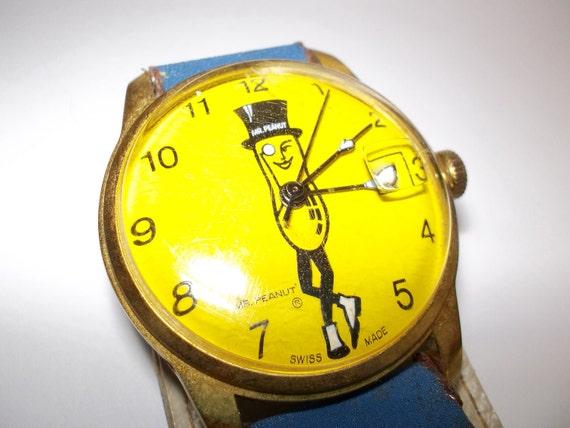 SALE 1960s 70's Mr. Peanut Watch/ Vintage POP Art Watch/ Child Kid RETRO Watch/ Rare Watch/ Blast from the Past Watch Parts / Old Watch