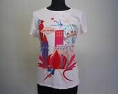 White T Shirt Las Vegas Vintage Colorful Printed Short Sleeved Medium