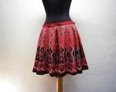 Sequined Knee Skirt Vintage Black Printed Woman Clothing