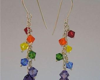 rainbow earrings with swarovski crystal