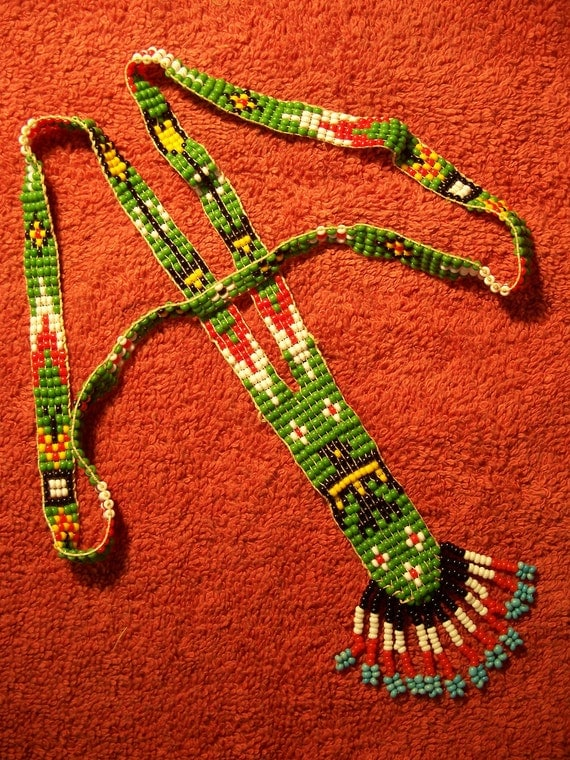 Vintage First Nations Loom Seed Bead Thunderbird Necklace