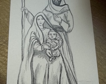 Nativity Prayer Card of The Holy Family for your family