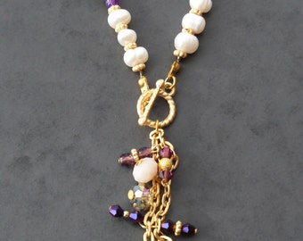 Purple Necklace with Swarovski Items and Freshwater Pearl