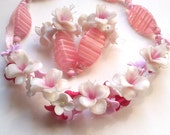 Cherry blossom - Necklace and earrings- Floral jewelry- Sakura flower