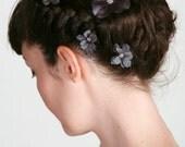 Flower Hair Clips Bobby Pins - Purple Blue - Crystal Rhinetone Centers - Set of 4, Wedding, Bridesmaid