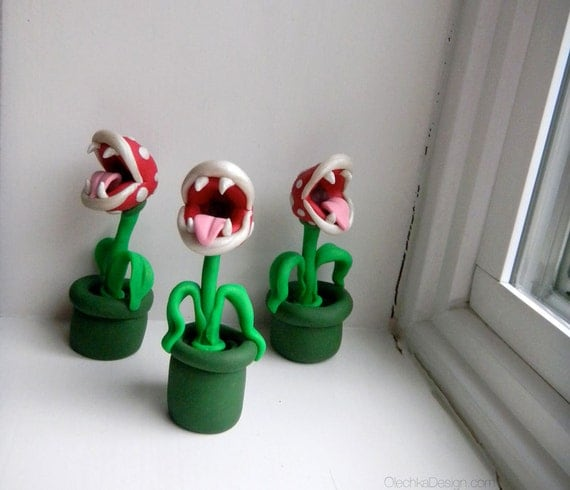 Piranha Plant Sculpture, Geek, Super Mario Bros, Nintendo, Polymer Clay