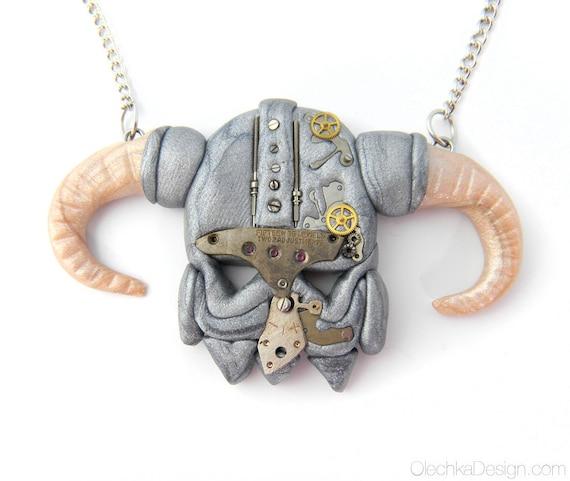 Skyrim Dragonborn STEAMPUNK Helmet Necklace - Polymer Clay
