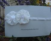 Flower girl headband -- white heart head band for wedding, First Communion