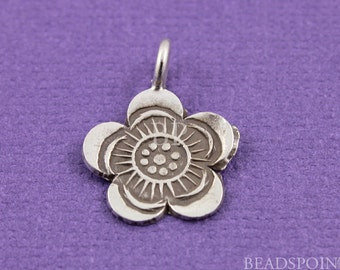 Fine Silver (.999) Thai Hill Tribe Handmade Flat Stamped Flower Charm / Small Pendant,Lightly Oxidized Pattern one side,(3 Pcs) HT 40029(68)