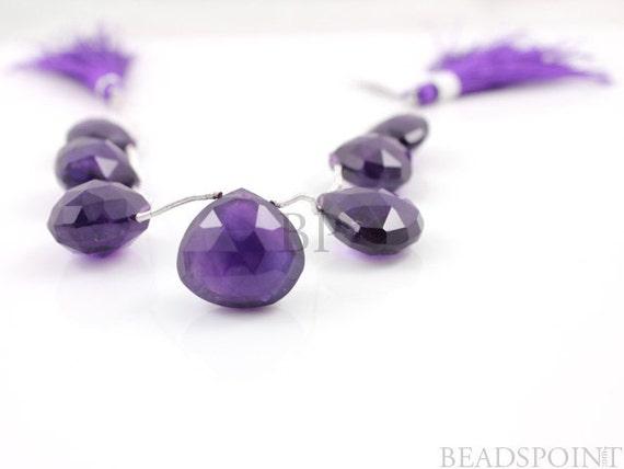 Dark Purple African Amethyst Large 13x13 - 15x15 mm Heart Shape Drops, Lovely Deep Rich Royal Color Natural Gemstone, ( 2AM13x13-15x15HRT)